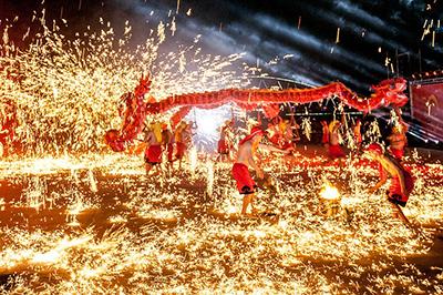 Chongqing firecrackers at Lantern Festival in Nantou, Nantou County
